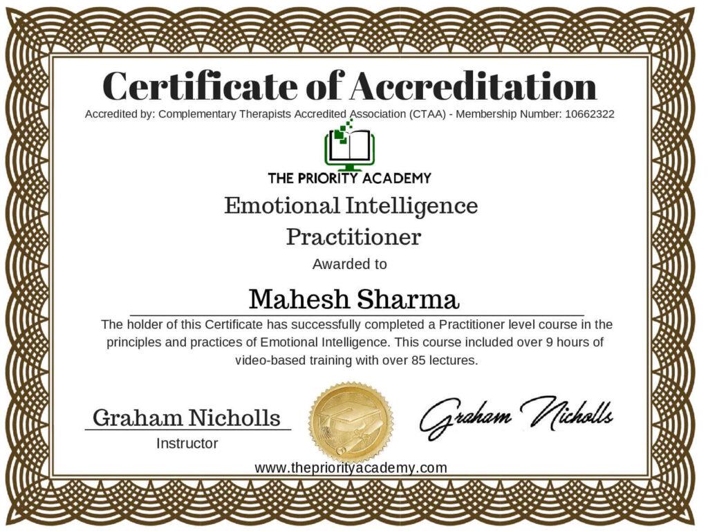 Mahesh SharmaAccredited Emotional Intelligence page 001